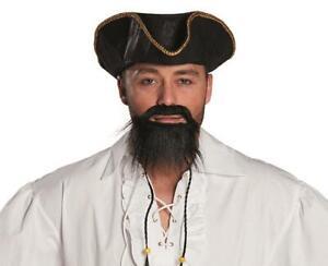 Bart Ying schwarzer Bart mit 2 geflochtenen Zöpfchen mit Perlen als Pirat