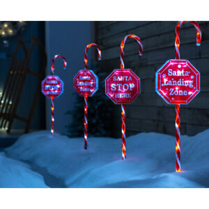 Christmas Candy Cane Garden Pathway Lights 60 LEDs Set of 4 80 cm