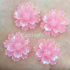 DIY 6pcs 25mm AB Resin 3d Flower Flatback Rhinestone Wedding Buttons Crafts