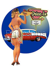 Retro 50s Drive-In Pinup carhop Waterslide Decal Sticker for guitars & more S4