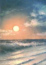 "49 - 5""x 7"" GALLERY GICLEE ART PRINT SEASCAPE Expressionism Coastal Night Moon"