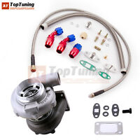 GT30 GT3037 GT3076 Turbo for 3.0L-5.0L Water Cooled + T3 T4 Oil Feed Line Kit