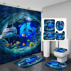 Ocean Dolphin Polyester Shower Curtain Bathroom Waterproof Toilet Bath Mat Set