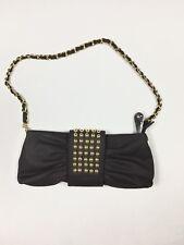 Hananel Women's Bow Shape Hand Bag Purse Black Gold Studs Removable Chain Strap