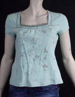 AFFINITES ARMAND THIERY T 3 - 42 joli haut top tee shirt manches courtes bleu