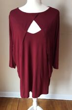 DENIM 24/7 BLOUSE WOMEN SIZE 1X 22/24 RAYON DARK RED 3/4 SLEEVES NEW