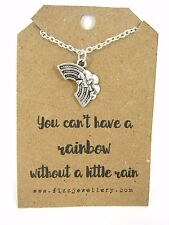 You Can't Have A Rainbow Without A Little Rain Silver Necklace Message Card New