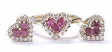 Fine Gem Ruby & Diamond Yellow Gold Jewelry Set Ring & Earrings 1.74Ct 14KT