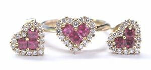 Natural Ruby & Diamond Yellow Gold Jewelry Set Ring & Earrings 1.74Ct 14KT
