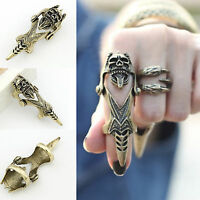 Unisex Gothic Punk Joint Armor Knuckle Hinged Long Double Full Finger Ring Gift