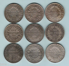 India. Queen Victoria - 1840 Rupees.. Type-1 (continuous legend) x 9 Coins. F-EF