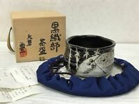 Y1793 CHAWAN Oribe-ware black signed box Japanese bowl pottery tea ceremony