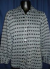 VTG Black White Box Plaid Blouse Shirt Top Jacket Med 3Z5 Large Collar Button Up