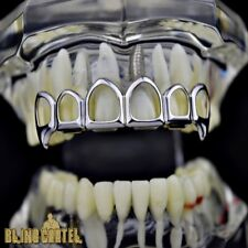 Fang Grillz Six 6 Tooth Open Face Hollow Top Teeth Silver Tone Vampire Fangs