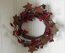 Red Burgundy ~ Pip Berry Garland Candle Ring ~ Rusty Star ~  2 inch center