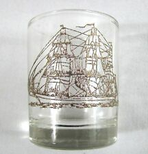 Vintage Gold Painted Pirate Sail Ship Shotglass Boat Barware Elevated Print