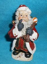 "Santa Claus Resin 4.25"" Tall Figurine - Very Good Condition"