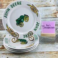 Gibson John Deere TIMELESS Yellow Logo Stoneware Embossed Dinner Plates Set 4