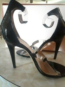 Tamara Mellon,Made in Italy, Black frontline high Hell strappy Sandals,Size US 7