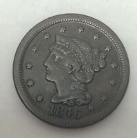 1846 Braided Hair Large Cent Tall Date-Beautiful Coin!!!