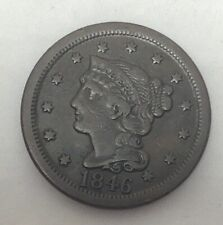 1846 Braided Hair Large Cent Tall Date-Beautiful Coin!