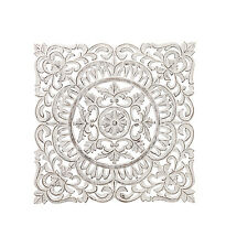 """Shabby Chic Carved Wooden White Square Wall Decor 30"""" H"""