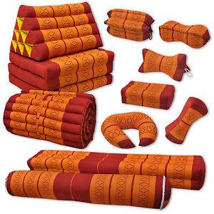 Kissen Matte orange rot Fitnesskissen Deko Boden Garten Couch Thai