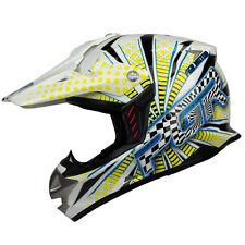 XS S M PGR SX01 WHITE YELLOW VORTEX Motocross MX BMX Dirt Bike Buggy DOT Helmet