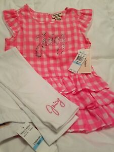Juicy Couture Little Girls Pink And White 2 Piece Outfit Size 5