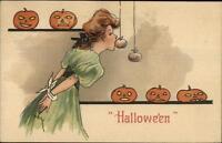 Halloween Beautiful Woman Apple String Game HBG Grigs c1910 Postcard