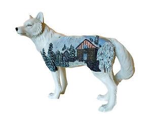 "Westland Giftware ""Winter Cabin"" Call Of The Wolf Figurine 5"" Original Box"