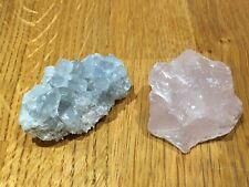 'Pink And Blue' Natural Rose Quartz Blue Celestite Pair Healing Energy