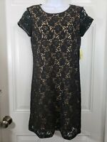 EMMA & MICHELE Black/Nude Lace Overlay Sleeveless Dress Women's Size Petite 8P