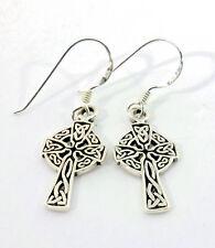 keltische Kreuz Ohrringe 925 Sterling Silber Schmuck Ohrhänger Neu Celtic Cross