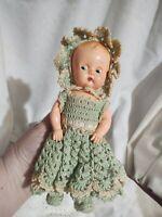 """Cupie Kewpie Doll Antique Celluloid Ideal 8"""" Side-Look Sleepy Eyes Belly Button"""