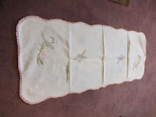 Embroidered Table Runner Doily Off White Pink Crochet Trim Lily Pads 36 x 15 In