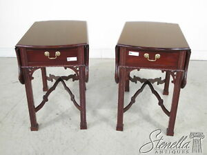 22434/22435:  Pair Chippendale Style Solid Mahogany Pembroke Tables