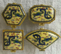 Jingdezhen Porcelain jewelry box painted ancient Chinese flying dragons 4 pieces