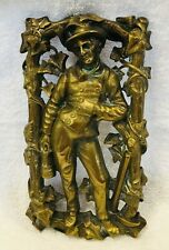 Old Cast Metal Brass Mining Minor Wall Hanging  SHP