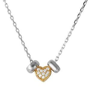 HEART W/ 2 HOOP NECKLACE PENDANT W/ LAB DIAMONDS / 2 TONE 925 STERLING SILVER