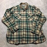 WOOLRICH FLANNEL 70s VTG 80s Shirt L Buffalo Plaid Green Brown Lumberjack Wool