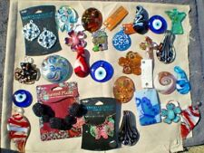 DEAL 27 GLASS METAL & More PENDANTS CHARMS assorted styles & sizes shell glass