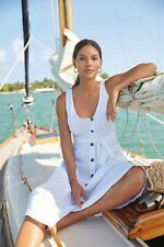NEXT White 100% Linen Summer Sun Holiday Midi Belted Buttoned Dress 16 BNWT £45