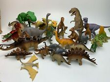 27 Pc Toy Dinosaur Figure Lot T-Rex Raptor Stegosaurus Dragon Brachiosaurus