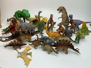 27 Pc Toy Dinosaur Figure Lot T-Rex Raptor Stegosaurus Dragon Brachiosaurus