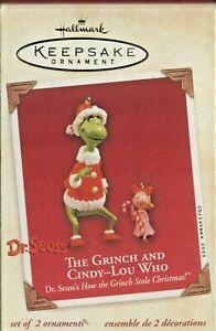 2003 Hallmark Keepsake Ornament THE GRINCH & CINDY-LOU WHO Dr. Seuss 2005 - NIB