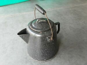 LARGE BLACK COFFEE POT BOILER GRANITEWARE SPECKEL ENAMELWARE ANTIQUE COWBOY CAMP