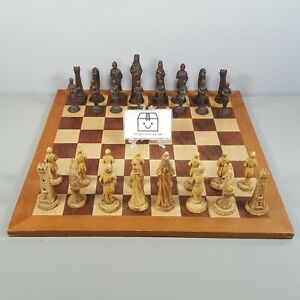 Vintage Medieval Gothic Style Resin Chess Set With Wooden Board (Complete)