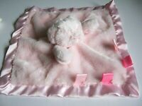 BABY BOY GIRL SOFT TOUCH TEDDY BEAR COMFORTER BLANKET SATIN PINK TAG