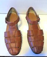4145f8de42c1 Vintage Style Woven Connie Sandal Shoes Women 9N Brown Leather Cognac  Fisherman